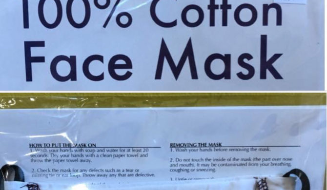 Local 100% Cotton Face Masks